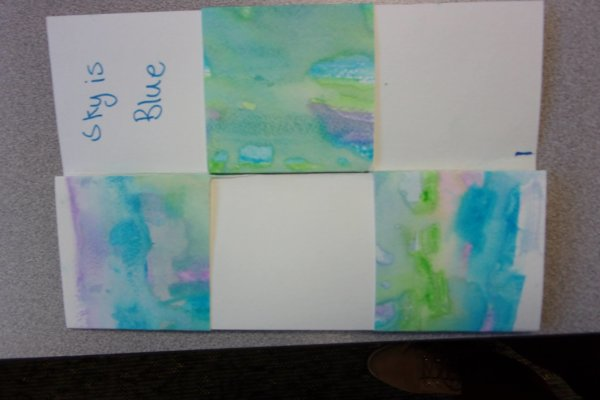 """Students at a youth-in-care facility participated in an art-science workshop and learned about the concept of turbulence and the effects that the turbulent properties of water have on watercoloring. Students then made watercolor """"flexigons"""" with abstract designs and haikus"""