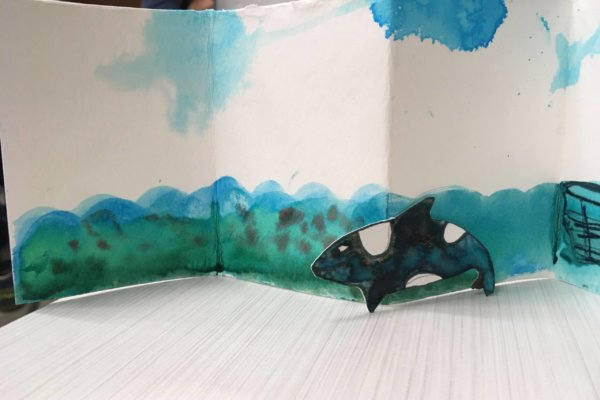 Students at a youth-in-care facility participated in a two-week workshop where they learned, discussed, and expressed ideas about biodiversity loss. This is a watercolor animal inside its habitat.