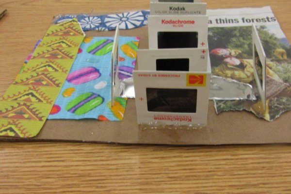 Students learned about Overconsumption and created collages using up-cycled materials.